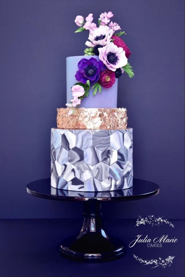 Marble & Metallic by Julia Marie Cakes - http://cakesdecor.com/cakes/252833-marble-metallic