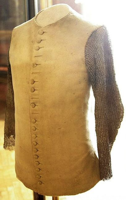 Doublet with riveted mail sleeves, belonging to Eugene of Savoy, late 17th to early 18th century. Located at the Heeresgeschichtliches Museum (military history museum located in Vienna, Austria)