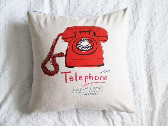 Handmade cotton/linen throw pillow, red telephone cushion, home decor