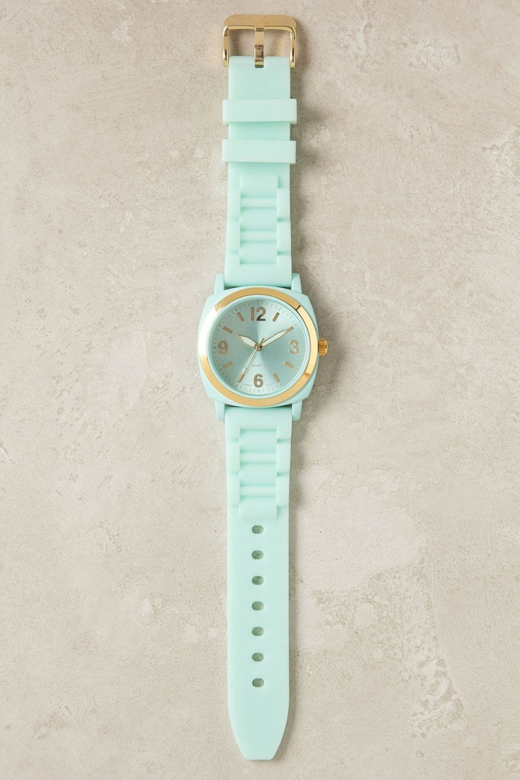 mint watch: Mint Green, Anthropology, Viscid Watch, Mint Gold, Gold Watch, Green Watch, Color, Watches, Mint Watch