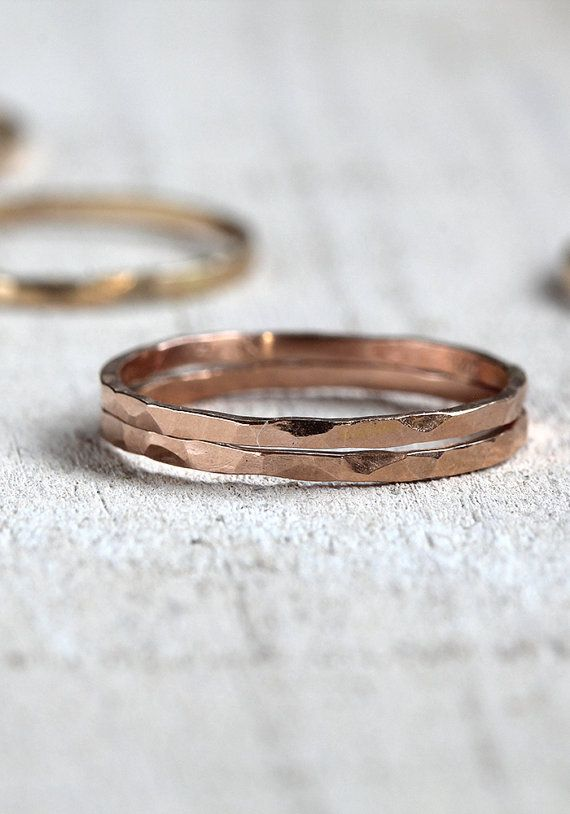 Solid 14k Pink gold stacking rings hammered bands set of 2 by Praxis Jewelry. Yellow and white gold are available too.