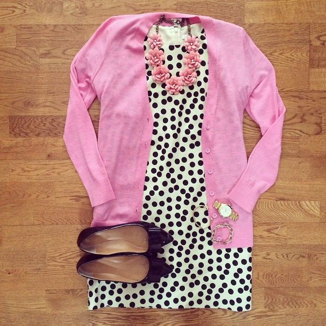 Polka Dot Dress, Pink Cardigan, Pink Flower Necklace, J.Crew Emery Bow Flats | #…