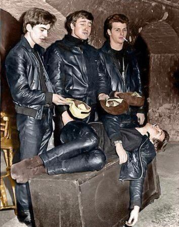 "George, John, Pete Best, and Paul in their leather Hamburg day...pre Ringo Starr, and then called ""The Silver Beatles"""