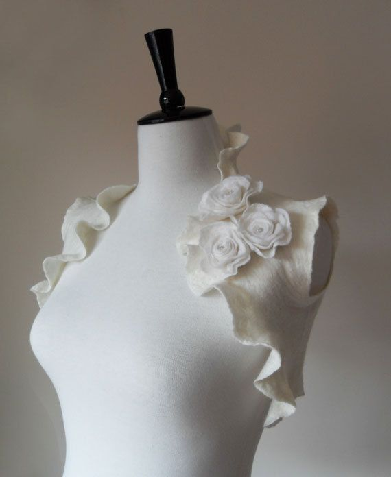 Bridal Shrugs Boleros Ivory White Wedding Bolero Jacket for Weddings Special Occasions. £80.00, via Etsy.