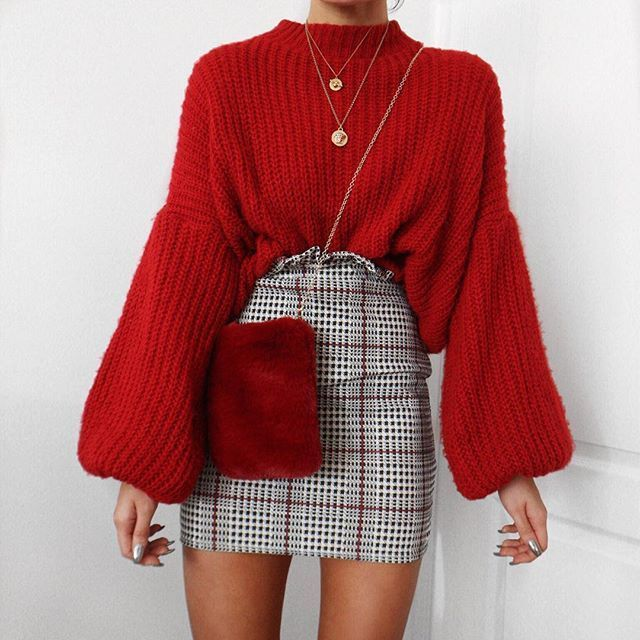 Festive red and balloon sleeves  this little checked skirt is @rebelliousfashion use code LR20 Little Red Dresses, dress, clothe, women's fashion, outfit inspiration, pretty clothes, shoes, bags and accessories