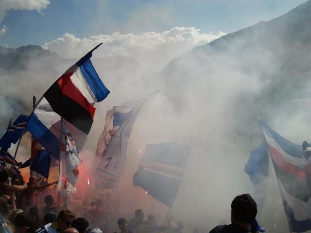 #Sampdoria tifosi during pre-season game against Lucento.
