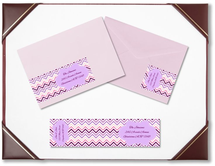 Envelope wraps pink purple zig zag wraparound address labels personalised labels invitations wedding engagement bridal shower baby shower by BootifulLabels on Etsy