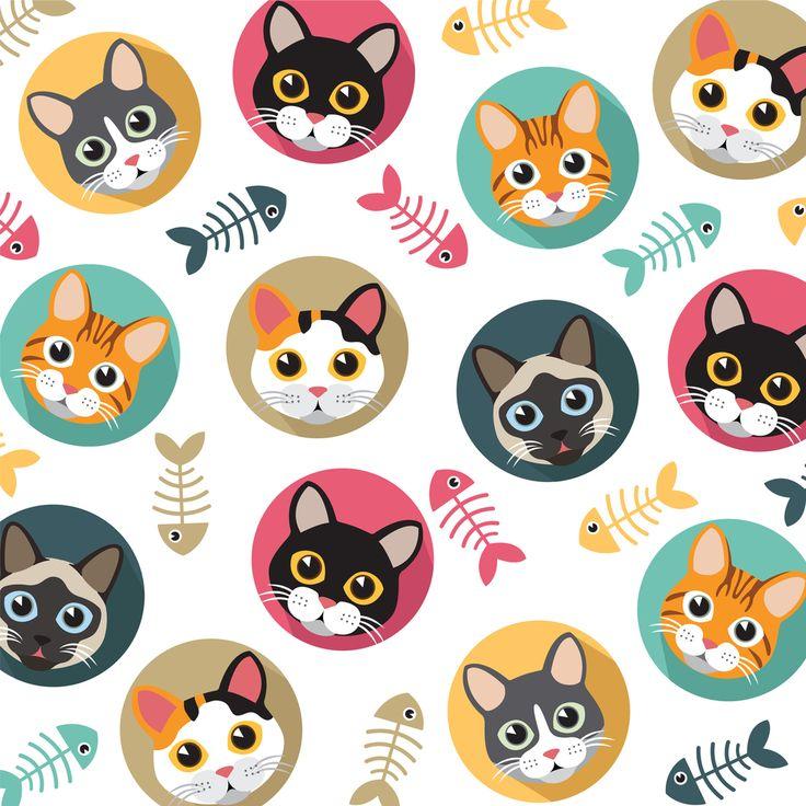 Gatos lindos espina de pescado Vector patrón ilustraciones