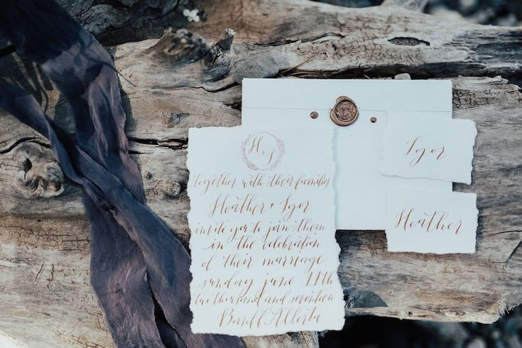 Barrier Lake Alberta Elopement Minimalist Deckled Edge Gold Calligraphy Wax Seal Wedding Invitation Suite Place Cards Beach Forest Mountain Beechwood   Bon Paper House   Photos by Meghan Doering and Hope Helmer