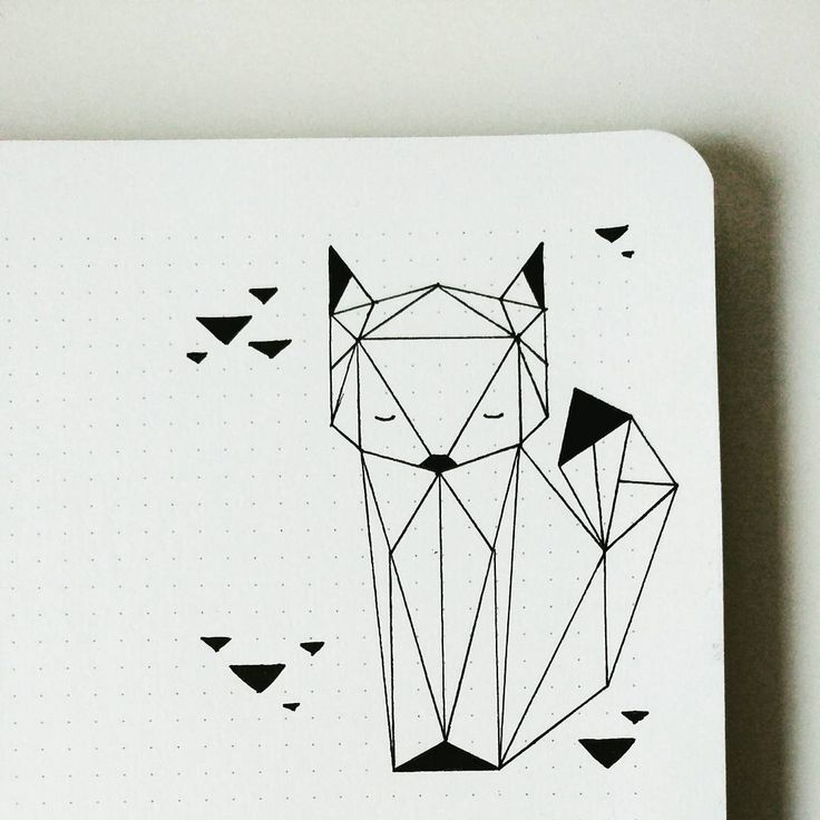 Geometric Fox by Bujo Nina (@bujo_nina) on Instagram