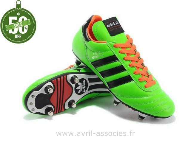 Boutique 2014 Coupe du monde Chaussures de foot adidas Copa Mundial FG SG Vert Noir Orange (Chaussure De Foot Adidas 2014)