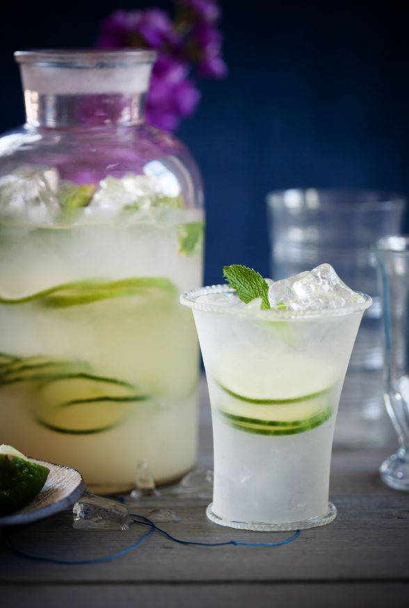 Mint, Cucumber and Lime Crush  Serves 4: Juice of 3 limes; 1 cup simple syrup; 3/4 cup white rum; 2 lime, thinly sliced; 1/3 cucumber, thinly sliced; fresh mint leafs; ice; club soda.  In a large pitcher or jar mix lime juice, simple syrup, rum, lime, cucumber, mint and ice.  Stir and serve in glasses topped off with club soda.
