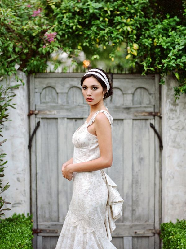 Erica Elizabeth Designs Silver lace headband with Claire Pettibone wedding dress.