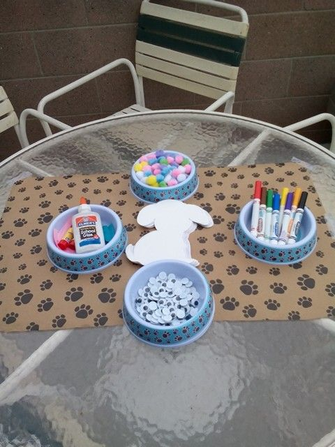 Puppy themed birthday party - create your own puppy craft table