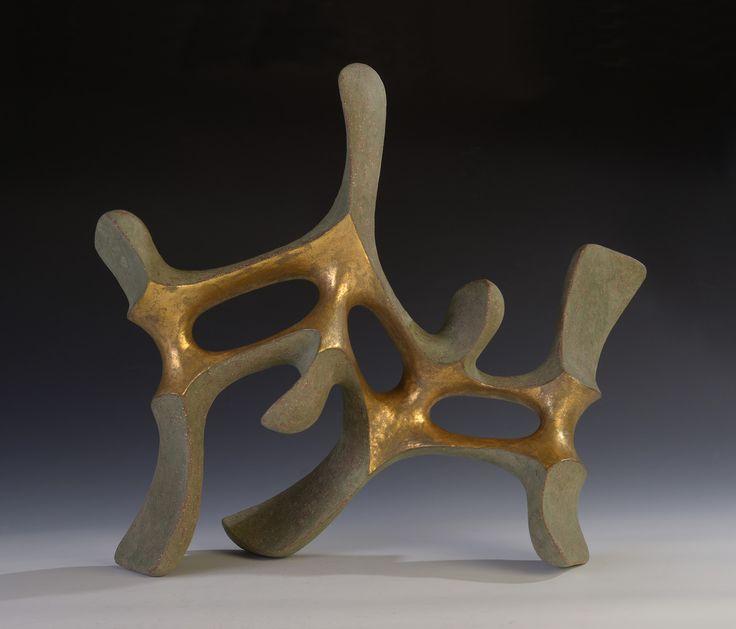 "Istvan HOLLO: ""Idol of the Dragons""  2015. Chamotte clay, engobe, glaze, gold (precious metal preparations for brush application on glaze).  51x23x44cm"