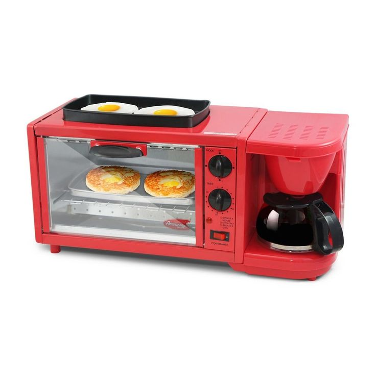 3in1 Extra Large Breakfast Center Coffee Maker Toaster Oven Electric Griddle Pan