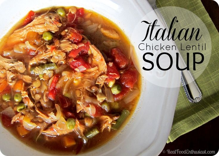 This easy Italian chicken-lentil soup recipe is made in the crock-pot! So good!
