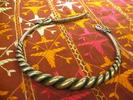 Gorgeous Tribal Thai Solid Metal Roped Neckpiece by EyesVintage, $270.00