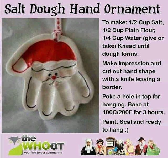 ~*~*~Fields Of Heather~*~*~: Salt Dough Handprint Santa Ornament