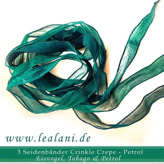 set with 3 silk ribbons crinkle crepe teal