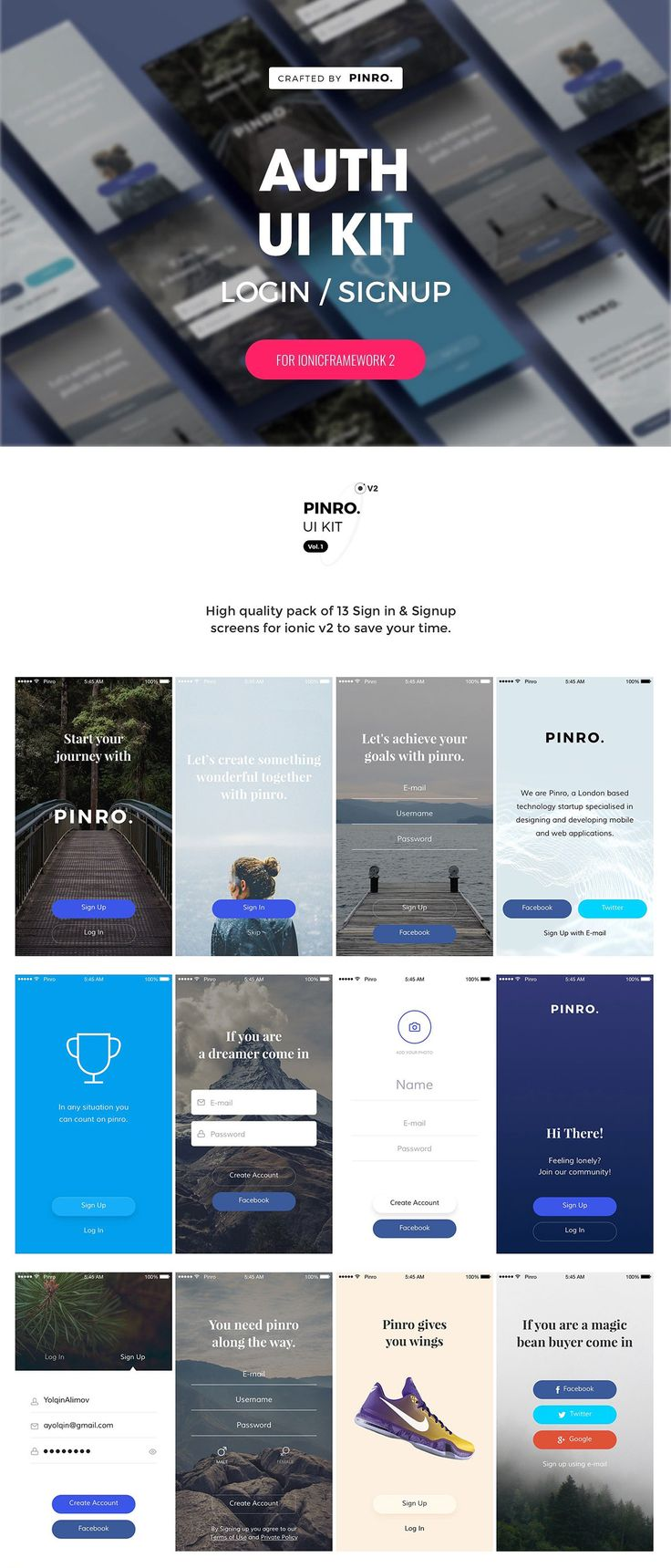 #Freebies : Auth #UI KIT is an original IONIC #framework #theme with included #templates for ionic v2 (based on SASS) that includes 13 Sign in / Signup screens. ( #webdesign #designers #uidesign #ux)