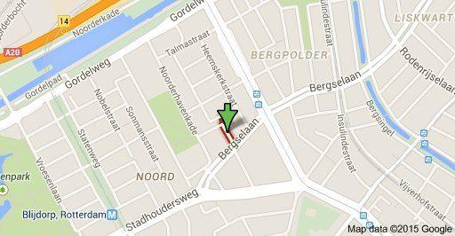 Bij groene pijl: de Treubstraat waar de V! viel.