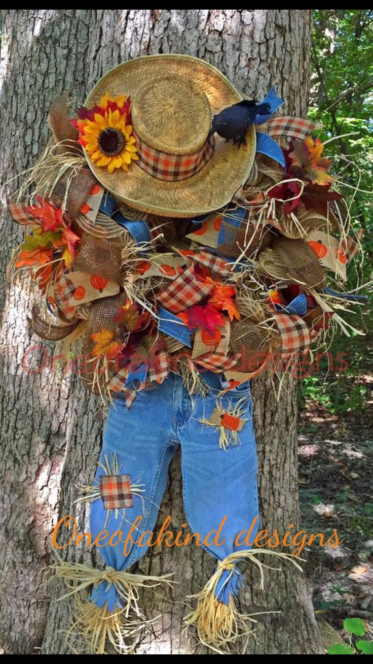 Fall, scarecrow deco mesh wreath