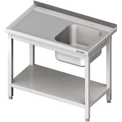 Stół ze zlewem 1-komorowym(p), z półką skręcany meble nierdzewne