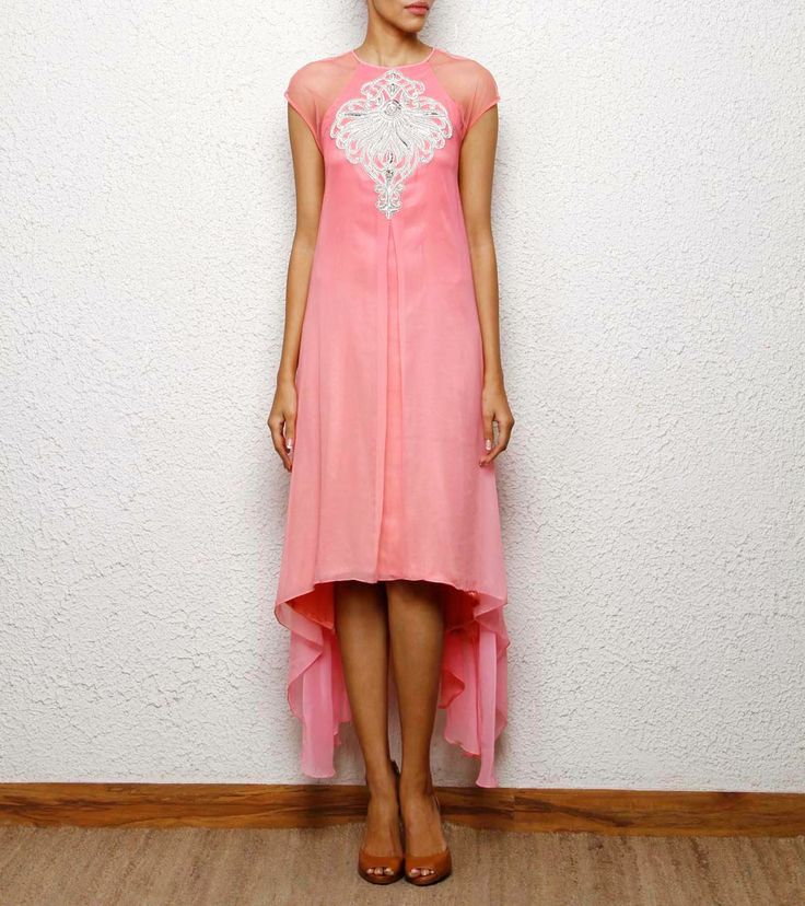high low hem pink kurta cum dress with silver  hand embroidery Aneehka @ indianroots.com indo-western, fusion wear, destination wedding, tunic, india