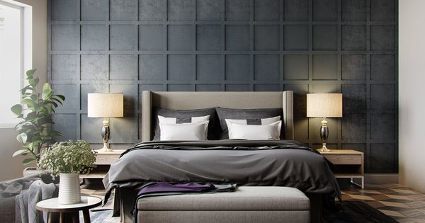 Just liked this Pin: Bedroom:Grey Wallpaper Bedroom Textured In Squares Chequered With Pendant Light Also Beautiful Plant Alluring Shade Of Grey Bedrooms http://ift.tt/2iVMieR