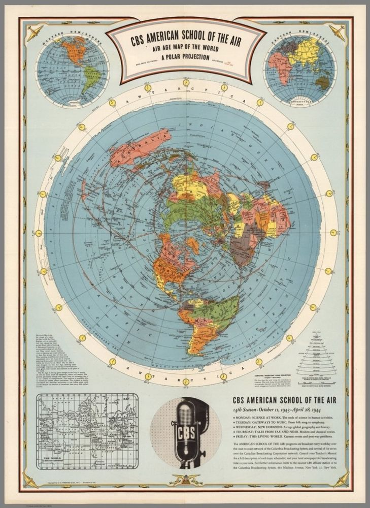 FLAT EARTH MAP   CBS American School of the Air : Hammond : MAP