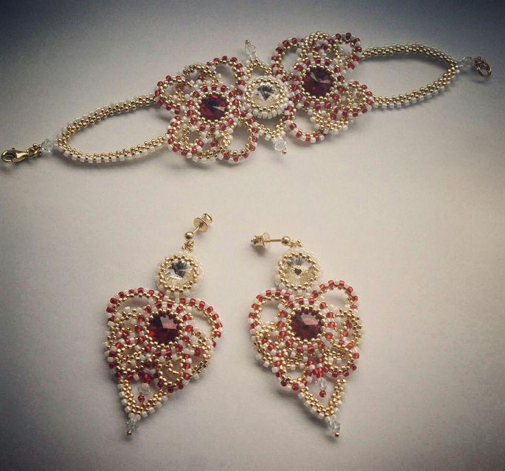 #wedding💙 #lovelyjewelry #stylish #swarovski💎 #toho #gold #red #white #iloveit #bizuteriabuni