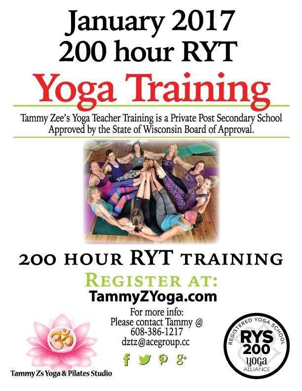 New 200 RYT training starting in January! Info coming soon to: TammyZYoga.com