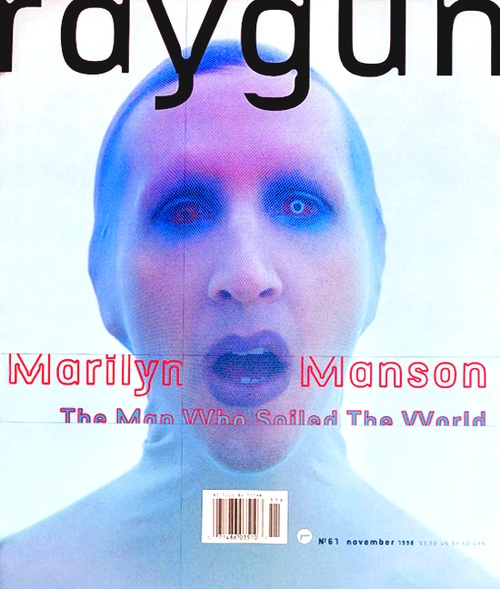 David Carson's Ray Gun Magazine cover, Marilyn Manson Issue #61 published 1998.