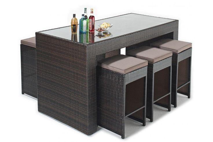 Chile Rattan Bar Set- Dimensions Table - 220cm Long x 80cm Wide x 110cm High Stools - 36cm Wide x 36cm Deep x 78cm High
