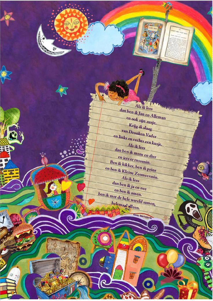 Poster lezen (aangepaste versie van Engelse poster) met gedicht van Koos Meinderts