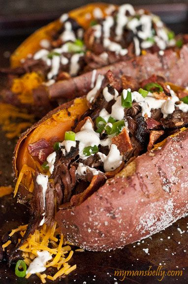 This sweet potato is a hot mess, literally. This is my version of the stuffed sweet potatoes found at Pecan Lodge BBQ in Dallas, TX.