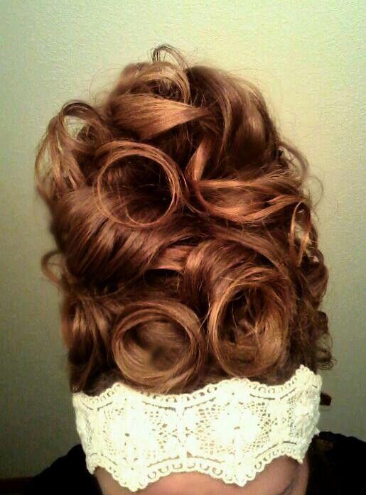 My hair. up high pin curls & curls