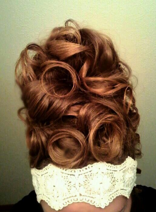 My hair. up high pin curls & curls