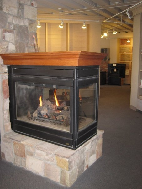 Three sided gas fireplace Also availale in two sided