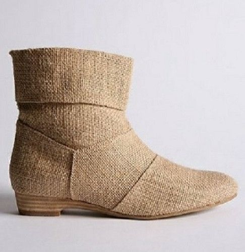 "Urban Outfitters BDG Get Shortie Linen Bootie Ivory Size 10 $68.00. Every gal's closet needs a great summer boot and this stylish, comfortable boots are a great choice. These cool woven-Linen boots from Urban Outfitters will add a playful finish to any look. These airy boots have a tapered profile and almond shaped toe.  A folded cuff adds a just right edge to these easy to pair retro ankle boots. Fully lined boots. Low heel, approx. 3/4"" heel. Great for walking. Fabulous for Fall weather."