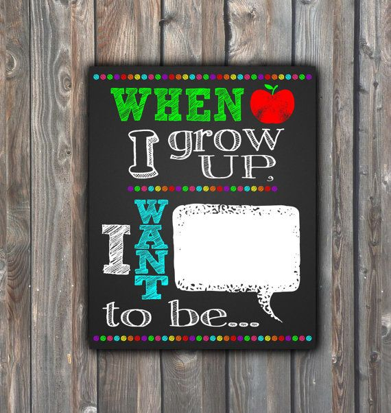 When I Grow Up,I Want To Be Sign–Printable Chalkboard Sign–Back To School,1st Day Of School Sign–8x10/16x20 Chalkboard Sign–Instant Download