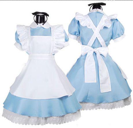 High quality Lolita dresses Peter pan Collar Short Lantem Sleeve Cute Alice in Wonderland Japanese Anim Maid Cosplay Pluse size