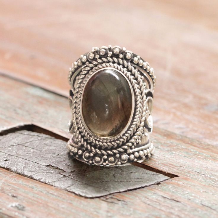 Labradorite Wide Band Silver Ring