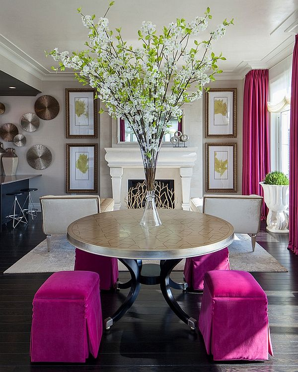 Interior Design For Spring --- Smart hot pink accents in the living room