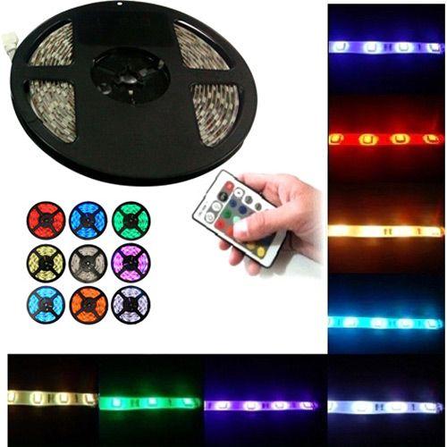 Fita LED RGB Rolo 5 mts 300 Leds com Dupla Face + Fonte + Controlador + Controle Remoto - 1068