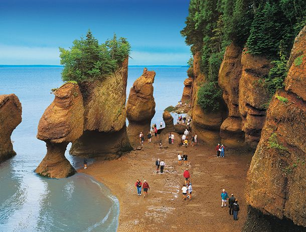 Hopewell-Rocks at low-tide, New Brunswick's most iconic tourist attraction (photo: Tourism New Brunswick, Canada)