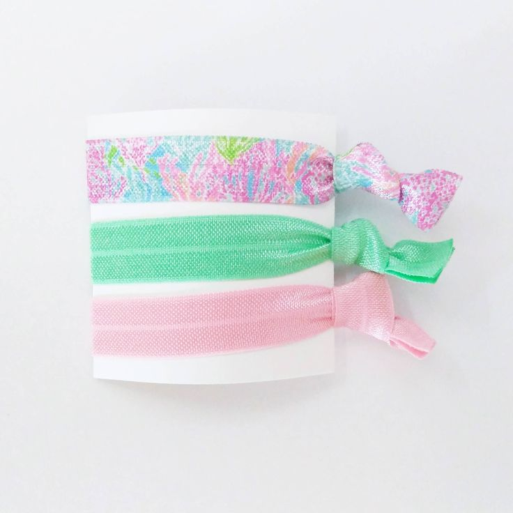 Pink, green, coral elastic hair tie set - Creaseless hair ties - Easter gift for her - Easter basket stuffer - Easter basket girl by IndePendantJDesigns on Etsy https://www.etsy.com/listing/597786945/pink-green-coral-elastic-hair-tie-set