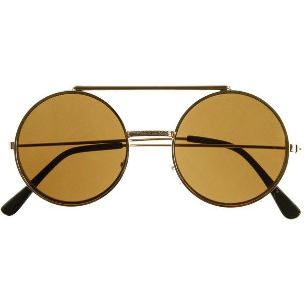 Steampunk Vintage Retro Round Circle Flip Up Sunglasses 8795 ($7.95) ❤ liked on Polyvore featuring accessories, eyewear, sunglasses, vintage round sunglasses, round lens sunglasses, circular sunglasses, uv protection sunglasses and metal sunglasses