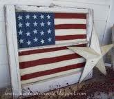 Framed Flag in Old Window, Barn Star, Red Pip Berries